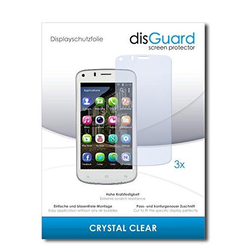 disGuard® Displayschutzfolie [Crystal Clear] kompatibel mit Gionee Pioneer P3 [3 Stück] Kristallklar, Transparent, Unsichtbar, Extrem Kratzfest, Anti-Fingerabdruck - Panzerglas Folie, Schutzfolie