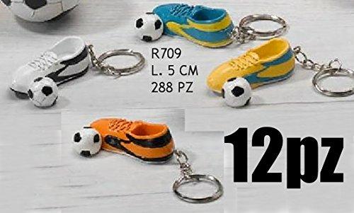 12 pezzi portachiavi scarpetta calcio con pallone bomboniera