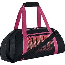 Nike Women's Gym Club - Bolsa para mujer, color negro / naranja, talla única