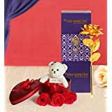 TIED RIBBONS Valentine Gift for Wife Husband Girlfriend Boyfriend Girls Boys - Valentines Special Artificial Rose with Teddy Gift Set