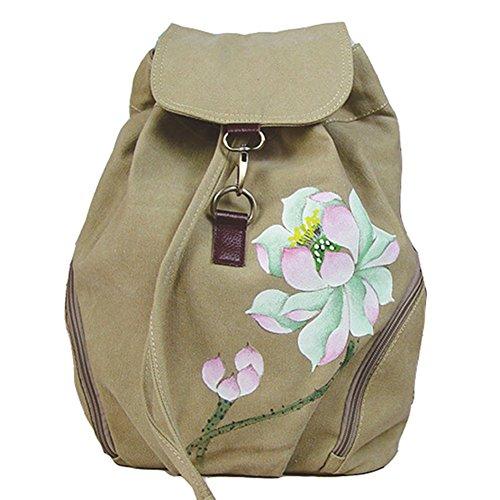 Gesimei donna zaino casual etnico borse dipinte a mano tela coulisse daypack (beige)