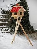 Großes XXXL Vogelhaus Futtersilo Futterhaus Schreinerware Holz Vogelfutter Vogelhaus Vogelvilla Vogel Blockhaus Futterspeicher XXXL mit / ohne 3-Beinständer Schwarz, Braun oder Rot (Rot mit Ständer)
