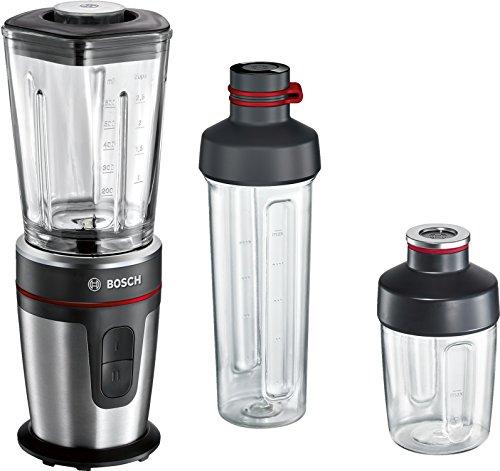 Bosch VitaStyle Mixx2Go MMBM7G3M - Batidora de vaso individual (350 W, jarra de vidrio Thermosafe, botella de transporte 2Go Mix, picador universal), acero inoxidable cepillado / negro