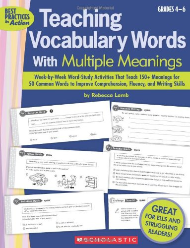Teaching Vocabulary Words With Multiple Meanings, Grades 4-6 (Best Practices in Action) por Rebecca Lamb