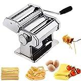 CHEFLY P1801 - Máquina de hacer pasta casera resistente todo en uno con 9 ajustes de espesor para hacer espaguetis frescos y espaguetis, rodillos de masa, cortador de prensa, máquina para hacer nalgas