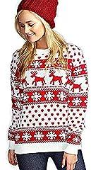 Idea Regalo - Maglia da Donna Maglione di Natale con Maniche Lunghe e Fiocco di Neve (XL (UK 16-18), Cream)