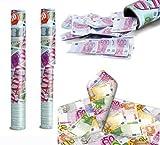 takestop® SET 2 TUBI TUBO SPARACORIANDOLI soldi banconote TUBO CANNONE 38 CM FESTA PARTY COMPLEANNO LAUREA MATRIMONIO SPARA CORIANDOLI