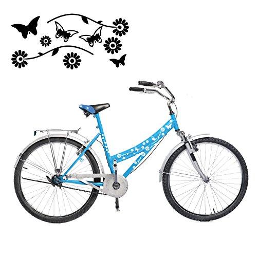 Summer Set mit Schmetterlingen und Blumen als Aufkleber für das Fahrrad Sticker Set | S4B0098