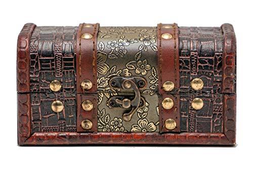 Brynnberg Kleine Schatztruhe 14x7x4cm Holztruhe Schatzkiste Vintage Look antikes Design Piraten Schatzsuche Holz massiv braun Spardose Schatulle Bauernkasse Holz Sparkasse Truhe