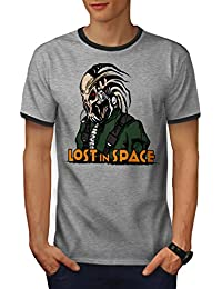 Wellcoda Lost in Space Men S-2XL Ringer T-Shirt
