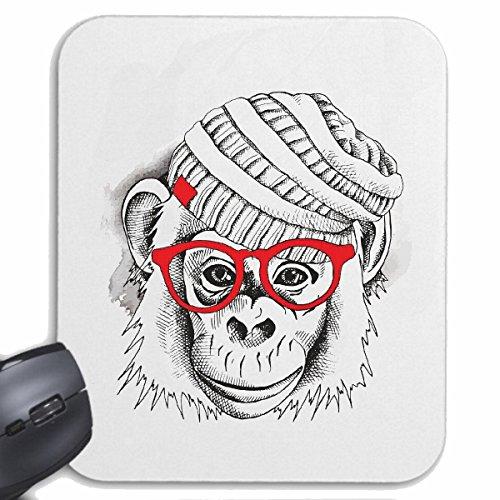 Reifen-Markt Mousepad (Mauspad) AFFE Schimpanse MIT MÜTZE UND Brille Monkey Schimpanse AFFE Gorilla SILBERRÜCKEN MENSCHENAFFE Charly AFFEN King Kong für ihren Laptop, Notebook oder Internet PC (mit W