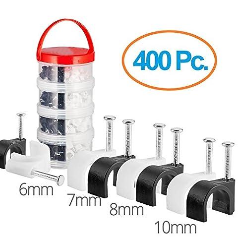 MutecPower Kabelschelle Pack 6mm 7mm 8mm 10mm rund Nagelschelle Schwarz & Weiß - 400 Stück