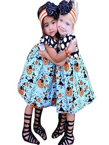 Vovotrade Baby Mädchen Kleid Halloween Kürbis Cartoon Prinzessin Kleid Outfits Kleidung Festlich Kleid Party Kleinkind Polka Dots Kleid Geburtstag Party Fasching Cosplay Kleid