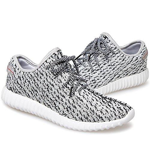 SITAILE Unisex Flache Mot Freizeitschuhe Laufschuhe Sportschuhe Schnüren Sneakers für Herren Damen Weiß