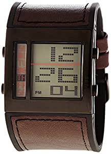 RG512 - G32011-905 - Montre Homme - Quartz Digital - Cadran Noir - Bracelet Synthétique Marron