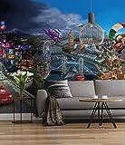 Sunny Decor SD400 Fototapete Cars World, Bunt, 368 x 254 cm, Rennwagen, Autorennen, Stadt, Italien, Kinderzimmer, Disney