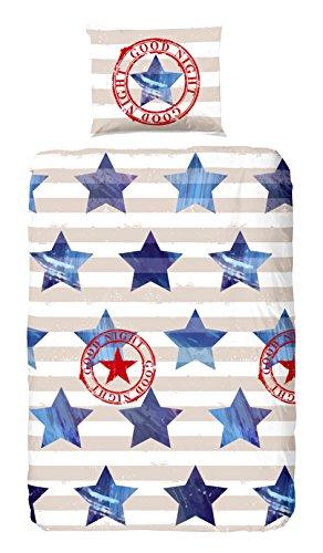 Good Morning! 5063-A, 135cm bettwäsche mit Sterne, 100 Prozent Baumwolle, Mehrfarbig, 200 x 135 x 0,5 cm