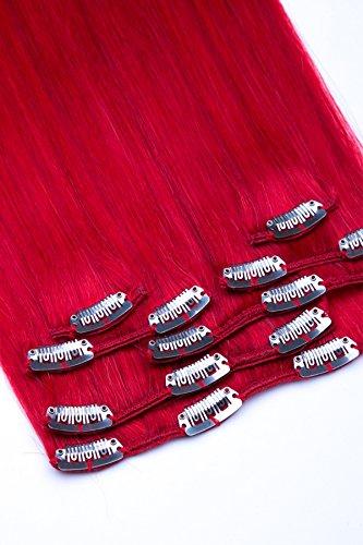 Clip In Extensions Set 100{578675c9638282857a72bcd1ecdfadd79d4cf4dbb0bd049d4539b5a67083063f} Echthaar 7 teilig 70g Haarverlängerung 45cm Clip-In Hair Extension Nr. Rot