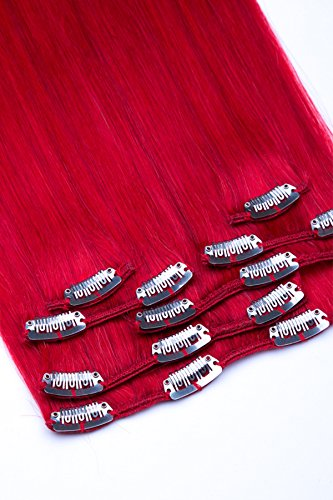 (Clip In Extensions Set 100% Echthaar 7 teilig 70g Haarverlängerung 45cm Clip-In Hair Extension Nr. Rot)