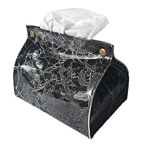 Home Decor Taschen (WLCLJJ Marmor Muster Tissue Box Pu Leder Home Auto Serviette Papier Container Papier Handtuch Serviette Tasche Home Decor (Color : Black))
