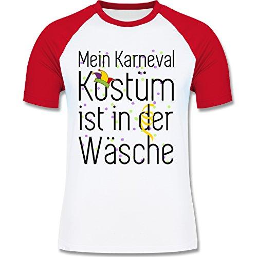 Karneval & Fasching - Mein Karneval Kostüm ist in der Wäsche - zweifarbiges Baseballshirt für Männer Weiß/Rot