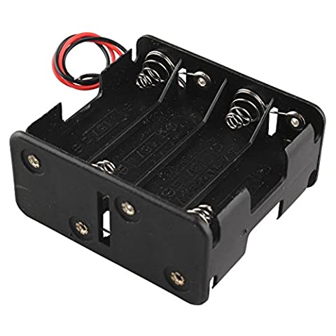 HALJIA 12V 8 x AA Battery Clip Slot Holder Stack Box Case Double Deck / Back to Back 6 Inch Leads