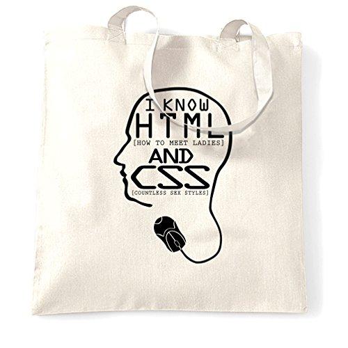 Ich weiß, HTML und CSS Lustige Slogan hebt Linie Geeky Nerdy Witz Tragetasche Computer-codierung