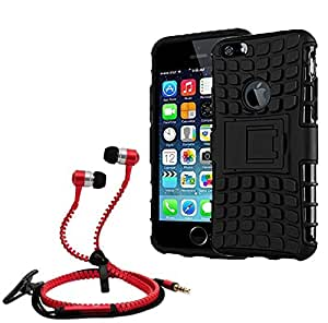 Droit Shock Proof Protective Bumper back case with Flip Kick Stand for Iphone 6Gplus + Stylish zipper hand free for all smart phones by Droit Store.
