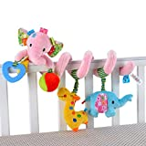 Happy cherry - Juguetes Colgantes Espiral de Animales para Cuna Cochecito Carrito bebés niños niñas arrastrar - rosa