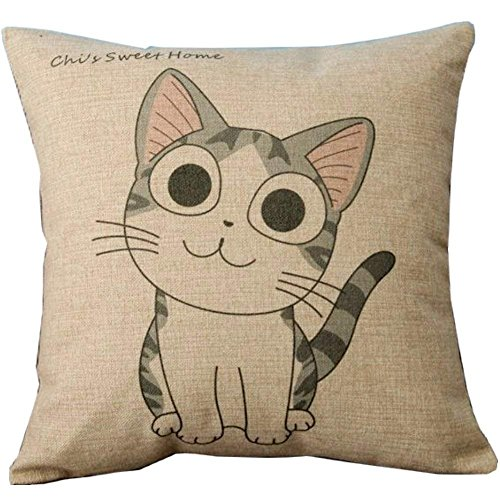WENEOO LA Cartoon Style Lovely Cat Chi's Sweet Home Crooked Neck and Smile Chi's Throw Pillow Case Decor Cushion Covers Square 18 * 18 Inch Beige Cotton Blend Linen