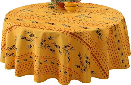 Nappe anti-taches Olivette jaune - taille : Ovale 150x240 cm