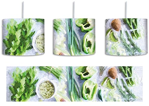 Grüne Sprossen Obst (Leckeres knackiges Gemüse inkl. Lampenfassung E27, Lampe mit Motivdruck, tolle Deckenlampe, Hängelampe, Pendelleuchte - Durchmesser 30cm - Dekoration mit Licht ideal für Wohnzimmer, Kinderzimmer, Schlafzimmer)