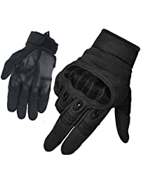 FreeMaster Men's Full Finger Work Gloves Touch Screen Protective Bike Cycling Climbing Motorcycle Gloves Camping Hiking Cross Country Ski Gloves (Black, M)