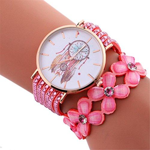 Ouneed® Uhren , Mode große Zifferblatt Glockenspiel Diamant Leder Armband Dame Womans Armbanduhr (Rosa) (Herren Diamant Großen)