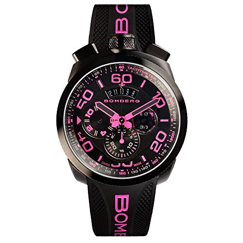 Bomberg Men's Bolt 68 45mm Silicone Band Steel Case Quartz Watch...