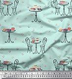 Soimoi Grun Baumwolle Ente Stoff Stuhl, runder Tisch & Cupcakes Party Dekor Stoff gedruckt 1 Meter 56 Zoll breit
