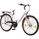 Galano 24 Zoll Mädchenrad Nexus 3 Gang Jugendrad Cityrad Mädchenfahrrad, Farbe:Weiss/Rosa
