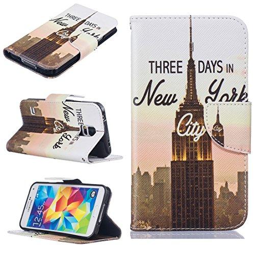 Nancen Samsung Galaxy S5 / SM-G900F (5,1 Zoll) Premium Leder Flip Handyhülle / Wallet Case, Blumen Landschaften Tiere und Bunt Printed Muster - Bookstyle Cover Schutzhülle mit Standfunktion, Brieftasche und Karte Tasche.