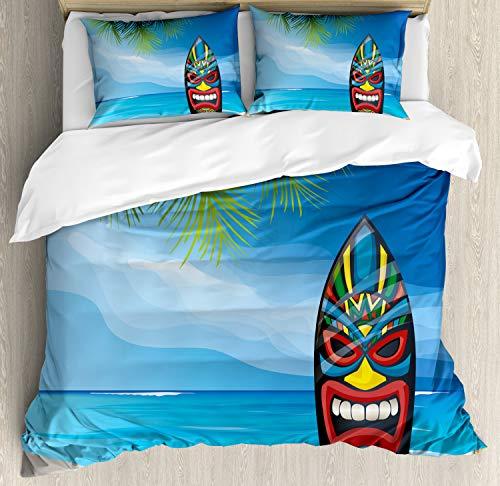 ettbezug Set King Size, Tiki Surfbrett, Kuscheligform Top Qualität 3 Teiligen Bettbezug mit 2 Kissenbezüge, Mehrfarbig ()