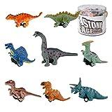 Liberty Imports Bucket of 8 Pull Back Dinosaur Cars, Mini Dino Figures Toy