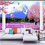 Mkkwp Romantico Lavanda Mount Fuji 3D Tv Sfondo Personalizzato Grande Affresco Ambientale Seta Carta Da Parati Murale-140Cmx100Cm