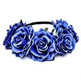 Diademas de Flores,Mujer Flor del Tocado,Flores de Pelo Cabeza para Mujeres (Azul)