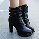 DENGZI Boots Femme Bottes en cuir à talons hauts Chaussures à lacets de couleur unie à bout rond