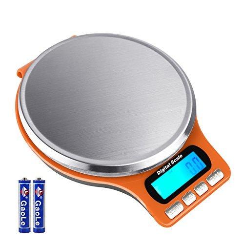 Aocerbek Balances de Cuisine Numériques 11lb/5kg avec Plate-Forme en Acier Inoxydable électrique Balance de Cuisine Mini avec Rétroéclairage LCD Tare et Caractéristiques PCS Piles Incluses (Orange)
