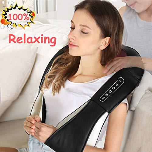 UKEER Massagegerät, Nackenmassagegerät heizdecke Shiatsu Massagegerät Nacken Schulter Rücken massagekissen mit Wärme 3D-Rotation Massage gerät für Haus Büro Auto