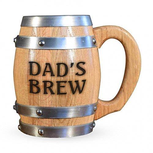 Personalisierte 'Dad 's Brew' Eichenfass Becher mit Edelstahl-Innenseite-16oz