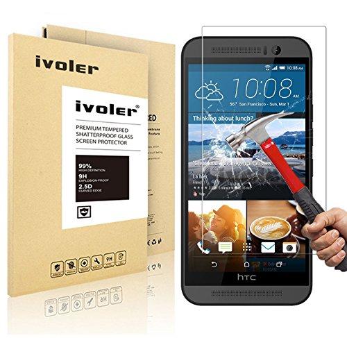 HTC One M9 Pellicola Protettiva, iVoler® Pellicola Protettiva in vetro temperato per HTC One M9- Vetro con Durezza 9H, Spessore di 0,2 mm,Bordi Arrotondati da 2,5D-Shockproof, Trasparenza ad alta definizione,  Facile da installare- Garanzia a