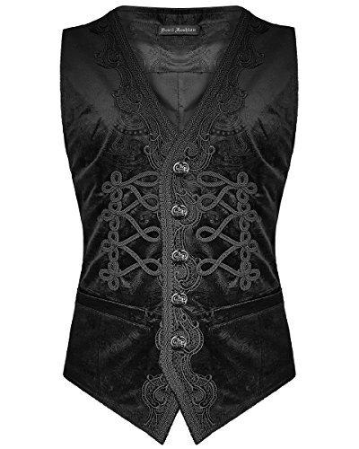 Devil Fashion mens GOTICO gilet nero motivo cachemire velluto Steampunk Regency - Nero, Large