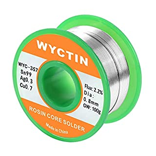WYCTIN 357 0.8mm Lead Free Solder Wire Sn 99-Ag 0.3-Cu 0.7 Tin Reel with Rosin Core, 0.22lb (100g)
