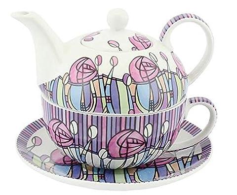 Modern Mackintosh Tea for One Fine China Tea Pot, Cup and Saucer